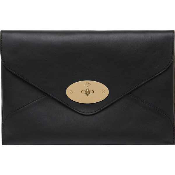 Willow Clutch Black Silky Classic Calf With Soft Gold - Mulb... - Polyvore