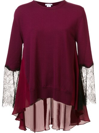 top knitted top lace purple pink