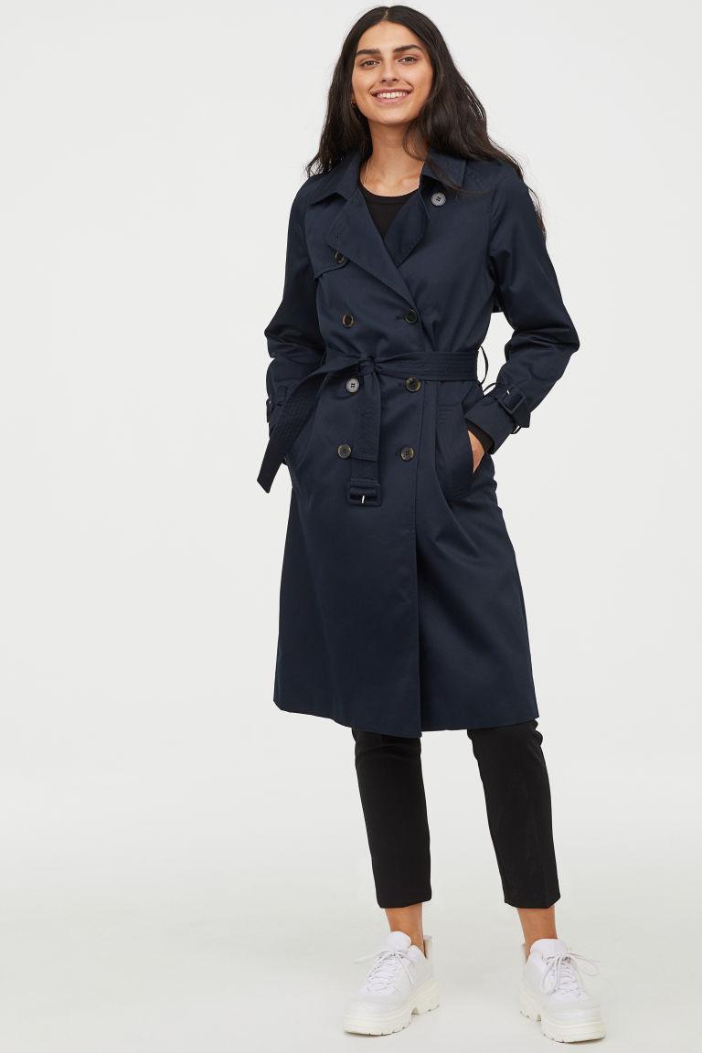 Trenchcoat - Dark blue - Ladies | H&M GB