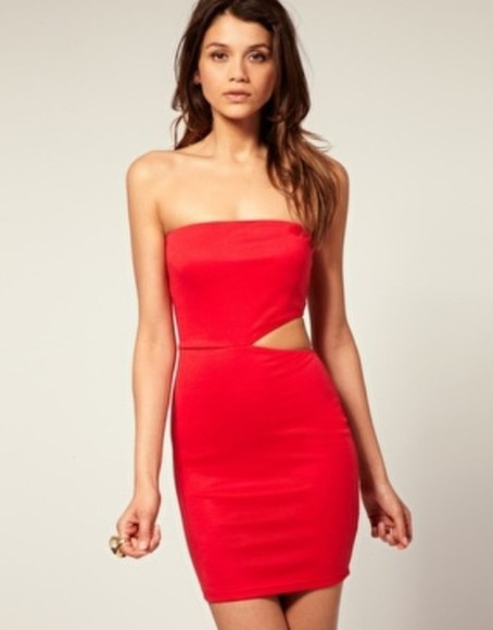 asos dress red dress short dress bodycon dresses cut out bodycon dress bodycon bandeau dress