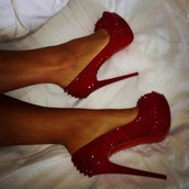shoes,red,studded,heel,prom