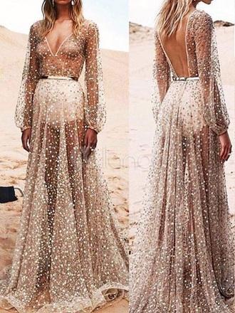 dress sweet gold sheer blush robe jewels music festival music love trendy backless