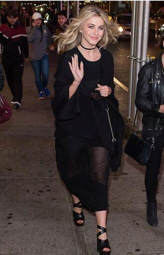 sandals all black everything julianne hough see through see through dress black dress midi dress