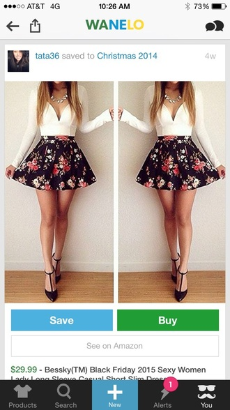 dress white v neck top floral skirt long sleeve skater skirt