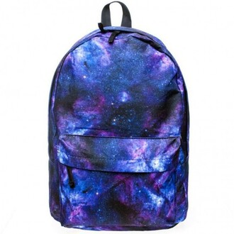 bag galaxy print back to school backpack fashion purple blue teenagers trendy boogzel