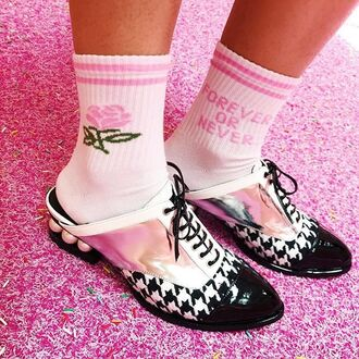 socks yeah bunny forever pink pastel cute white