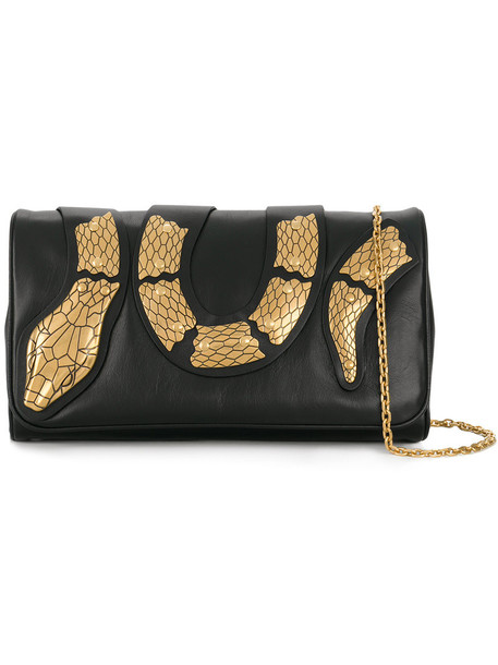 RED VALENTINO snake women clutch leather black bag