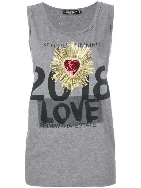 Dolce & Gabbana top vest top heart metallic women cotton grey