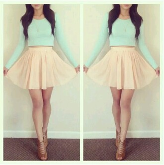 shirt pastel mini high low dress flare skirt