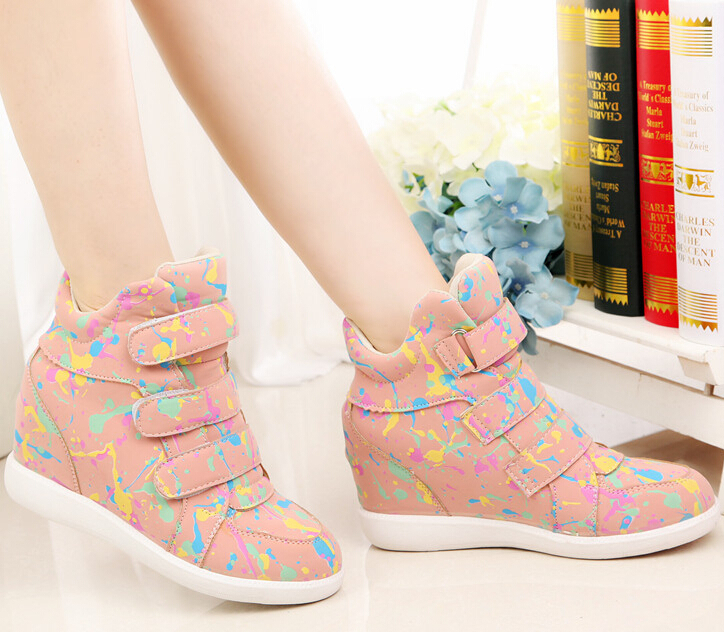 Fashion Women Wedge Sneakers Casual Canvas Shoes Floral Print Women
