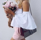 skirt,gucci bag,flowers,girl,sophisticated,lawyer,women,preppy,sophistication,white shirt,pink,white,blouse