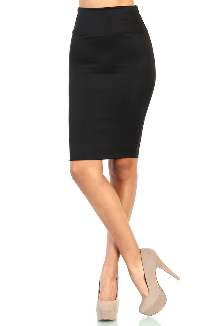 Waist Stretch Pencil Skirt - Black