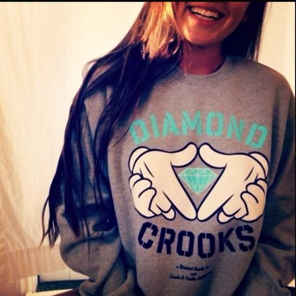 sweater diamond supply co. crewneck hipster cute modern teal seafoam green gray hoodie jacket hoodie