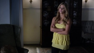 top pretty little liars yellow yellow top ruffle yellow ruffle top yellow layered top layered top layered sasha pieterse alison dilaurentis shirt