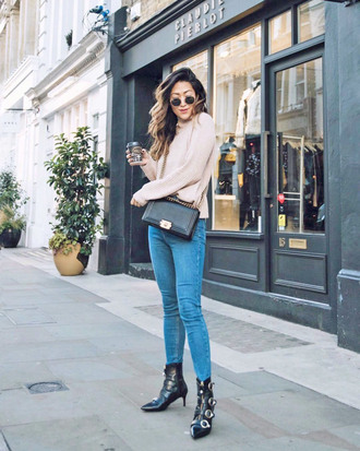 shoes tumblr boots black boots ankle boots buckle boots denim jeans blue jeans sweater nude sweater fall outfits sunglasses bag black bag