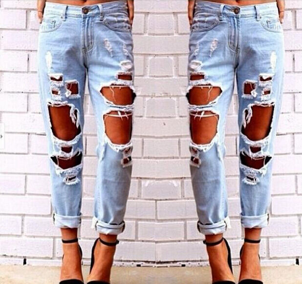 Women Destroyed Ripped Distressed Slim Denim Pants Boyfriend Jeans