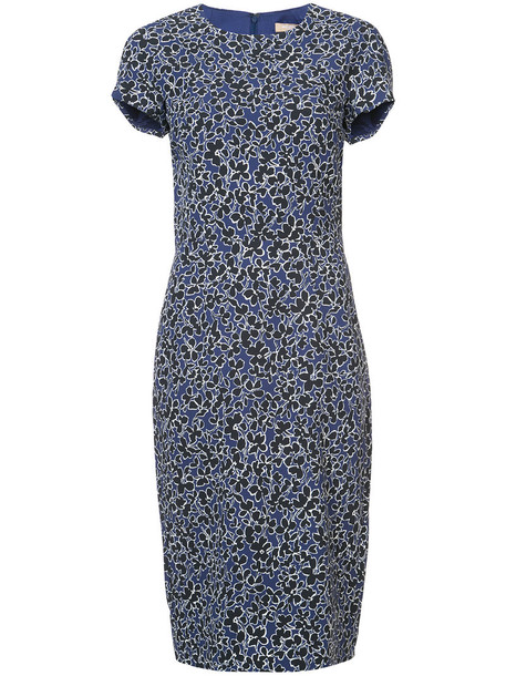 Michael Kors dress pencil dress women spandex floral print blue