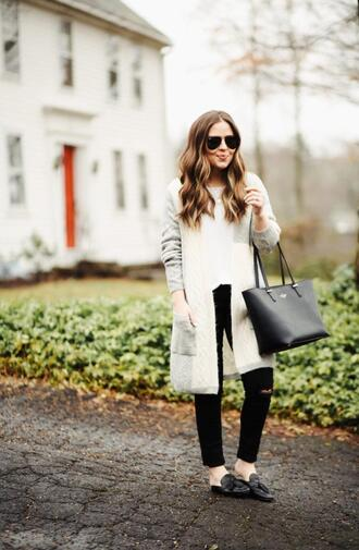 dress corilynn blogger sweater top jeans shoes bag sunglasses loafers grey cardigan spring outfits black jeans