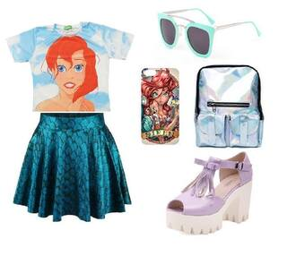 ariel mermaid disney ariel the little mermaid disney princess t-shirt bag sunglasses