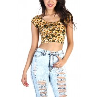Yellow daisy crop top