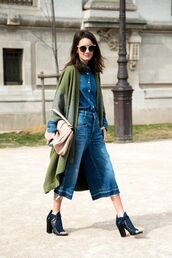 pants,olive green kimono,double denim,denim shirt,button down denim shirt,denim culottes,open toes,peep toe boots,open toe heels,block heels,pink clutch,sunglasses,block heel sandals