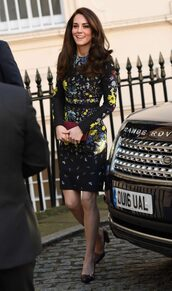 dress,kate middleton,pumps,midi dress,floral,floral dress