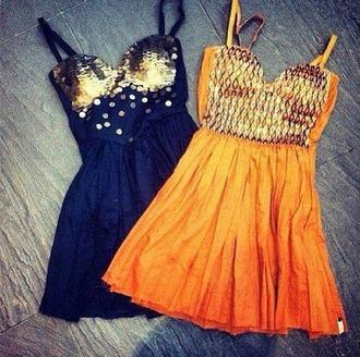 dress black dress orange dress gold sparkle gold sequins summer