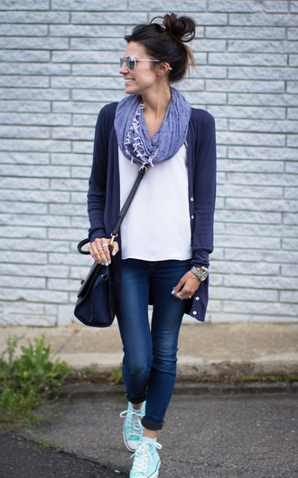 hello fashion tank top sweater jeans scarf jewels blouse jacket shirt navy cardigan shoes bag converse purse sunglasses