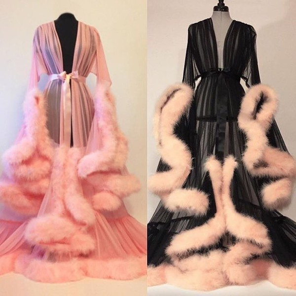 dress home accessory pajamas robe pink black dressing gown pajamas sleeping wear romper jacket robes fluffy lingerie blouse baby pink fluffy lingerie fur robe fluffy pink police fur rob sheer underwear silk feathers long sleeves