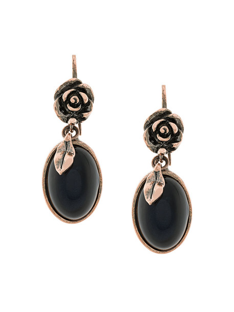 women embellished earrings floral grey metallic jewels