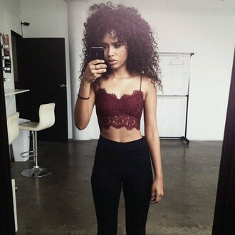 shirt black girls killin it urban top bralette lace bralette burgundy bralette burgundy lace bralette wine bralette wine burgundy top wine crop top crop top bralette bustier tumblr tumblr girl burgundy lace burgundy crop top tank top blouse