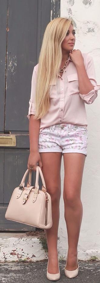 blouse coral pink chiffon chiffon blouse shorts floral floral shorts