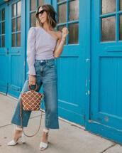 bag,handbag,white sandals,high heel sandals,jeans,cropped jeans,top,sunglasses