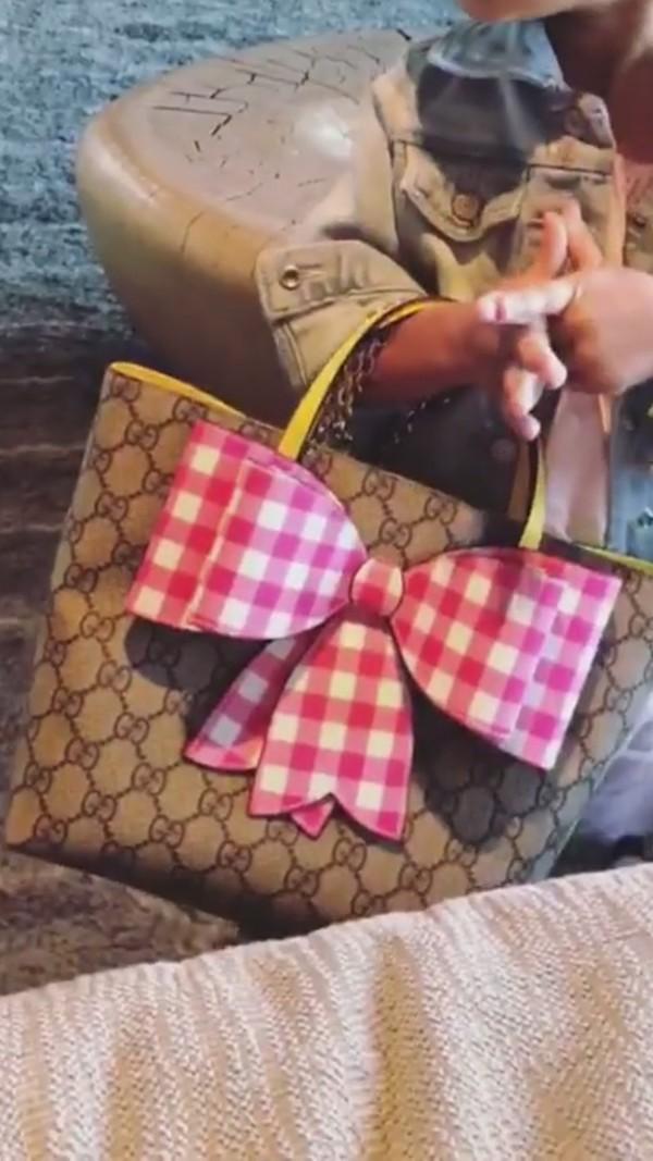 c06d431943 Gucci Children's GG Supreme check bow tote