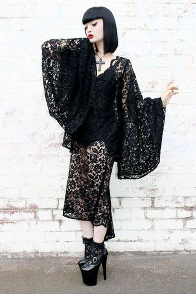 dress lace goth black gothic witch witchy sexy sheer draped long dress little black dress