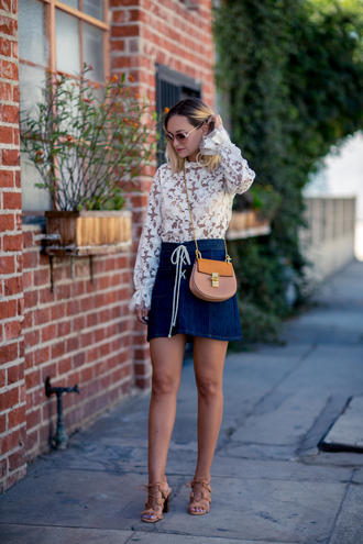 late afternoon blogger top skirt sunglasses bag shoes jewels