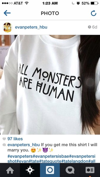white sweater black writing american horror story cotton sweater