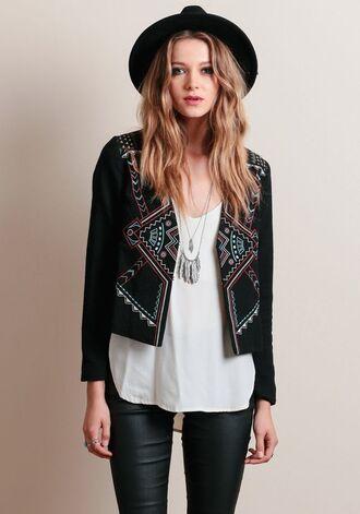 jacket boho jacket black jacket embroidered jacket top white top necklace boho boho chic hat felt hat black hat pants leather pants black pants