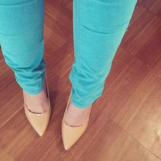 shoes beige shoes needtheseheels teal jeans heels need needitnow