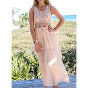 dress,pink,maxi,lace,trendy,fashion,style,cute,rose wholesale-ma