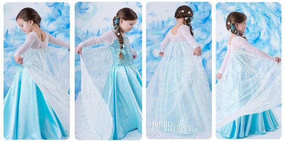 Frozen Elsa costume inspired dress 4t satin style skirt