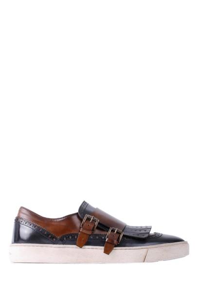 Santoni shoes leather black brown