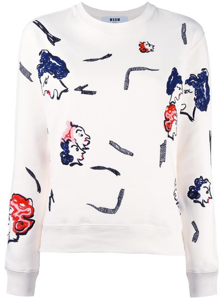 MSGM sweatshirt embroidered women white cotton sweater