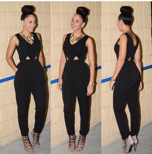 jumpsuit black jumpsuit cut out jumpsuit