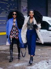 pants,nyfw 2017,fashion week 2017,fashion week,streetstyle,cropped pants,blue pants,royal blue,top,v neck,coat,white coat,white fur coat,fur coat,boots,black boots,ankle boots,over the knee boots,vinyl,mini dress,floral,floral dress,blue coat,sunglasses,hairstyles
