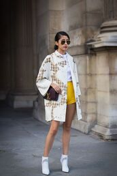shorts,kimono,top,yellow shorts,bag,shoes,boots,white boots