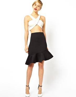 ASOS | ASOS Pencil Skirt in Scuba With Peplum Hem at ASOS