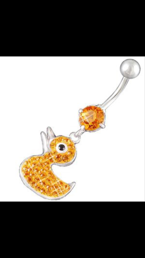 jewels orange cute duck belly button ring