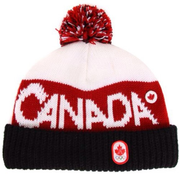 white red hat canada pom pom hat