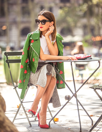 lovely pepa blogger heart green jacket fall jacket knitted skirt